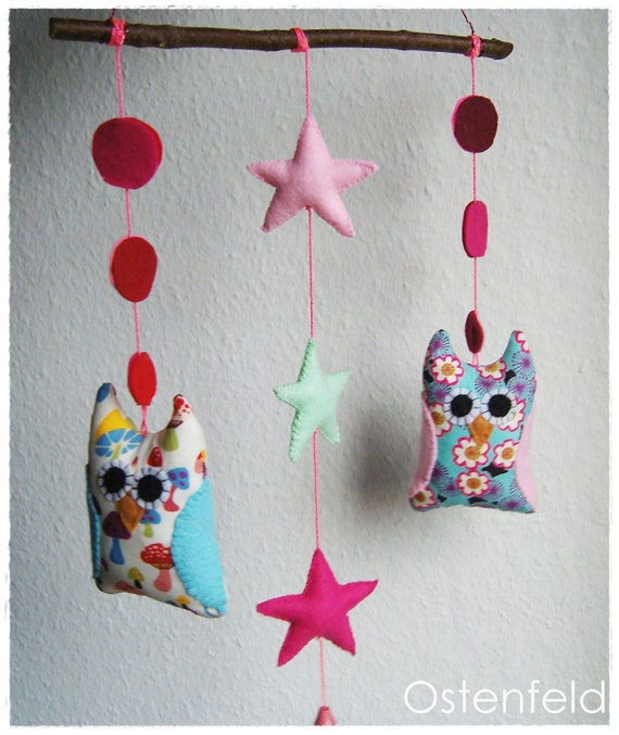 Colorful owl mobile - kids decor, baby mobile, nursery