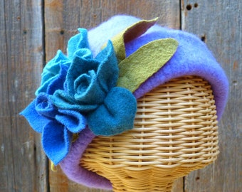 Lavender  felted wool hat with felted flowers