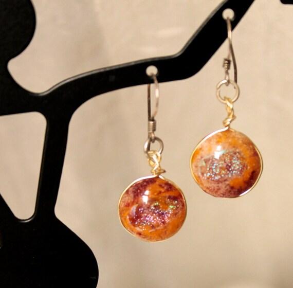 Earrings  - Handmade -  Sterling Silver -  Dangler Earrings  -  Dichroic Glass -  Wedding Jewelry -  209