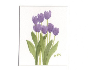 "5"" by 7"" Matted Original Watercolor Painting of Purple Tulips from Wanda's Watercolors"