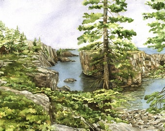 "Set of Four 6"" x 9"" Reproductions of Original Watercolor Paintings from Isle Royale National Park"