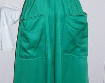 1978 Designer green satin formal halter dress with shawl