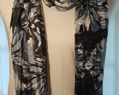 Lightweight Chiffon Black with Large White and Grey Flower Pattern Fabric Fashion Scarf