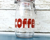 RESERVED for Patricia coffee canister / retro typography / 1.5 L  glass storage