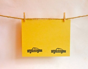 Great Gift Idea -- Taxi Cab Notecards -- Black NYC Taxis on Yellow Notecards -- Stationery Set