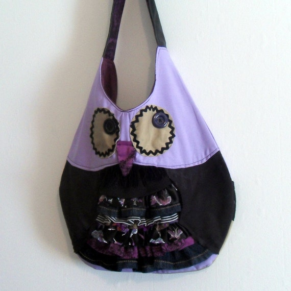 Owl Bag Tote Ruffles Upcycled Handmade Purple Black Unique Gift for Owl Lovers