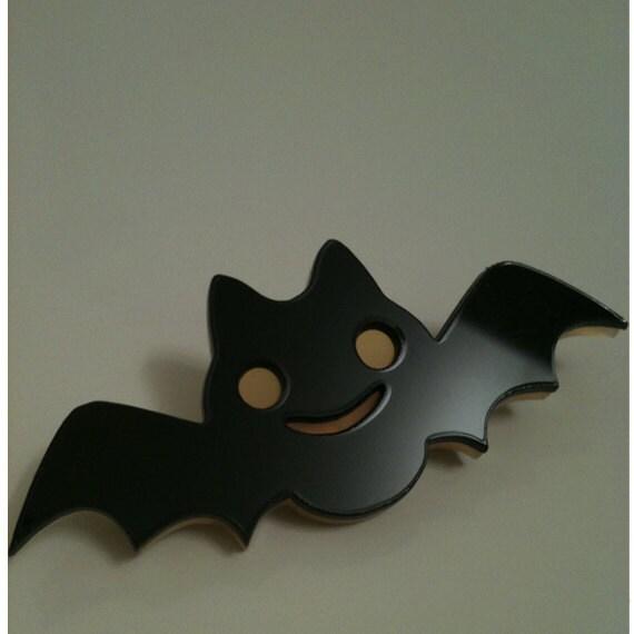 Cute Bat, Orange and Black Bat Pin, Acrylic Bat Pin