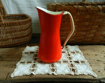 Vintage Dansk Kobenstyle Enameled Pitcher with Wicker Wrapped Handle