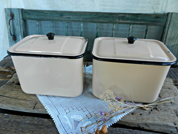 Vintage Pair of Peachy-Beige Enameled Canisters