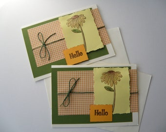 "Set of 2 Note Cards 5 x 7"" with glittery sunflowers, blank inside, ""Hello""  all occasion handmade cards"