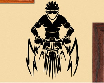 Extreme Sports Vinyl Wall Decal: Mountain Bike Rider with Helmet ES004