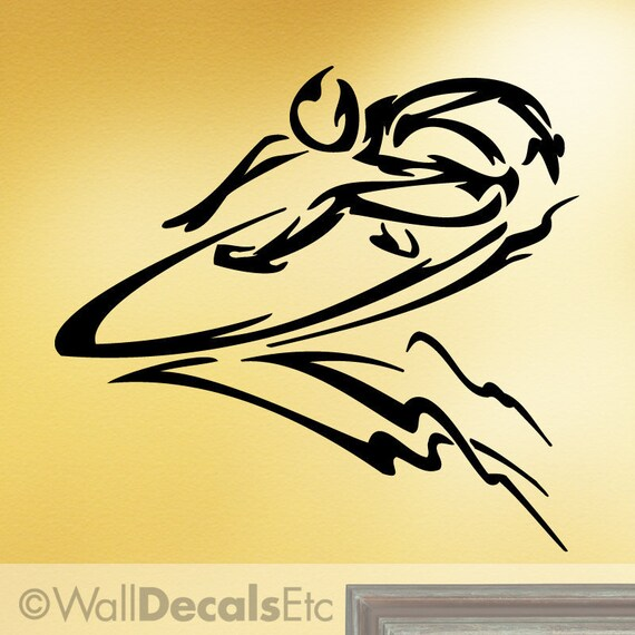 Vinyl Wall Decal: Extreme Sports Surfer Riding a Wave ES040