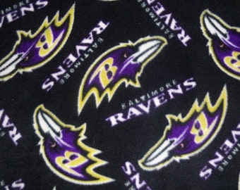 """Child/Baby Size Baltimore Ravens no sew fleece blanket with Black or Purple Back (1 yard- 36"""" x 60"""") Double Sided Hand Tied Blanket"""