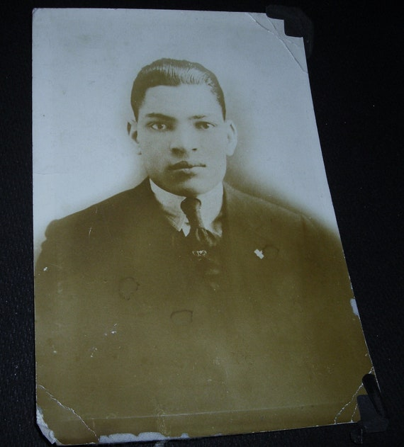 Vintage Sepia Photo....African American Heritage.....Cabinet Photo.... Serious Young Man In Suit and Tie