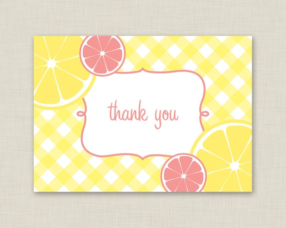 Gingham Thank You Cards / Pink Lemonade