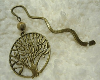 Metal Tree of Life Bookmark -- Picasso Jasper -- Unique Christmas Gift or Stocking Stuffer