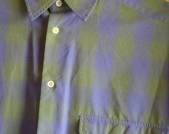 ARMANI LE COLLEZIONI Blue Green Check Mens Shirt (Rare)