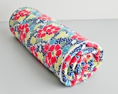 Minky Baby Blanket, Let's Play Large Floral in Navy and White Bubble Dot Minky