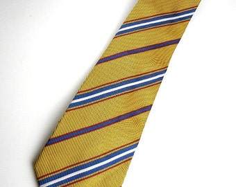 Men's wide tie in gold with red, white & blue stripes by London vintage from 1980s // necktie