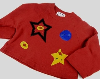 Girls sweatshirt with stars & planet appliques on dark red fleece by Les Tout Petits size S from 1990s // girls Christmas gift