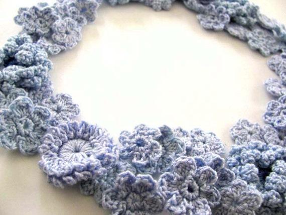 Assortment of Blue Crochet Flower Appliques