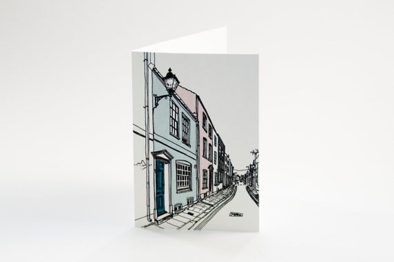 Greeting card with illustration of an English street
