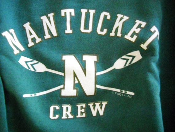 Rare Vintage Sweatshirt - Nantucket Crew New England Rowing Oars - Deep Sea Aqua Green