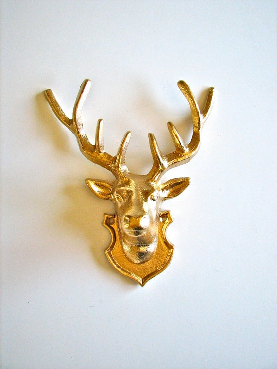 Gold Iron Wall Decor : Deer head iron wall hanging in gold