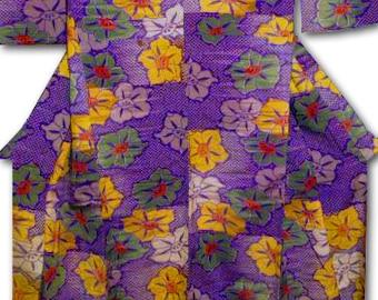 Antique Kimono, Japanese, Silk Fabric with Floral Design