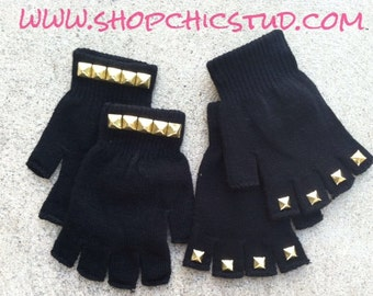 Studded Gloves Black Fingerless Gloves Gold or Silver Studs