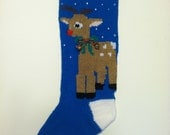 Hand Knit Rudolph Christmas Stocking