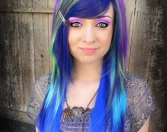 Peacock / Purple, Green, Navy, Teal and Royal Blue / Long Straight Layered Wig