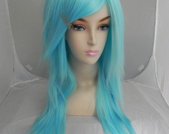 Cotton Candy Blue / Long Straight Layered Wig