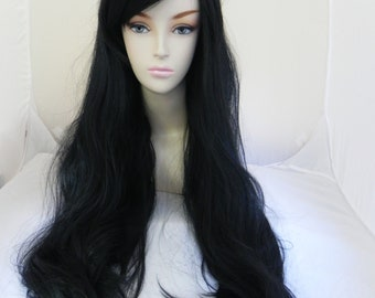 Black / Long Wavy Straight Layered Wig Extra Thick