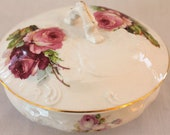 Covered Porcelain Dish with Roses...Powder Jar...Trinket Dish...Cook Pottery Co, NJ...Late 1800s - Early 1900s...Cottage Chic...Made in USA