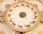 Five Vintage Austrian Plates...Bread Plates...Pink Floral...Ornate Gold Trim...Marked with W in Wreath