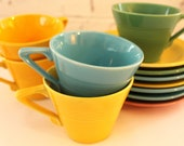 Harlequin Cups and Saucers...Five Cups and Seven Saucers...Homer Laughlin China Co...Turquoise, Pink, Green & Yellow...Vintage...Art Deco