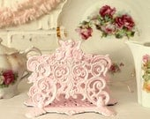 RESERVED...Ornate Cast Metal Letter Holder with Cherub...Painted in Ballet Slipper Pink... Vintage...Iron Art...1950s...Cottage Chic