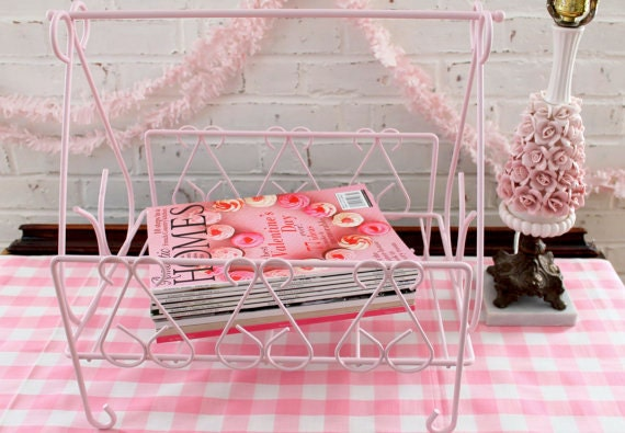 Vintage Wrought Iron Magazine Rack...French Pink...Paper Recyclables...Firewood Holder...Shabby Chic...Scrolly...Cottage Chic