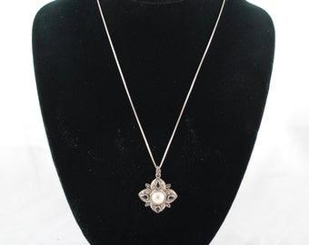 FREE SHIPPING  vintage silver 1960's 1960s Sterling and Marcasite Star Faux Pearl Pendant w Black Onyx silver chain