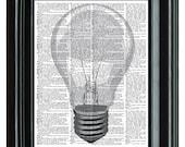 Light Bulb Vintage Print, VINTAGE DICTIONARY PRINT, dictionary page, Upcycled dictionary art print,  8.25x11.25 num. 58