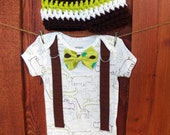 GET THE SET Baby Boy Bow Tie Onesie with Suspenders, and Crocheted Hat - Gift Set, Baby Shower, Safari Birthday