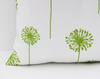 Decorative Throw Pillow Green and White. Bright Green Dandelion print ONE 26x26
