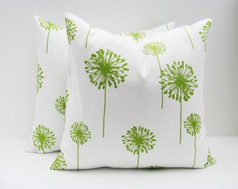 Green Pillow. 20 x 20  inch Decorative Pillow Cover.Printed Fabric on front and back.Throw Pillow Sets.Green Cushions