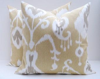 Ikat Pillow Cover. Tan White and Gray ONE 14x18. Lumbar Pillow Cover. Decorative Throw Pillows.