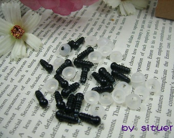 100 pairs 6 mm black Safety Eyes