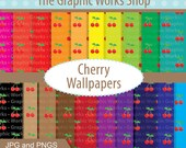 INSTANT DOWNLOAD 50% Off- Cherry Printed Digital Papers