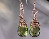 Gold Filled Earrings Peridot Gemstones August Birthstone Apple Green Stones