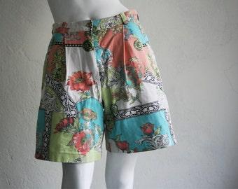 Vintage shorts pants bermuda ornaments flowers size L Large 80s Berlin