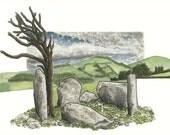 Lettergorman five-stone circle /Leitir Gormáin Ciorcal Cuig-Liag , Card Print Listing Stats